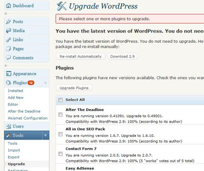 Bulk Plugin Upgrade in WordPress 2.9